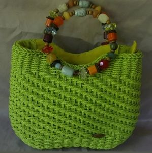 Capelli Straworld Bead Handle Purse Lime Green